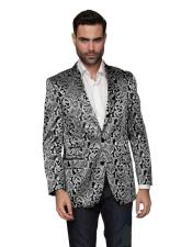 Nardoni Paisley Floral Tuxedo Matching Fashion Bow Tie Sport Coat Silver Gray Grey