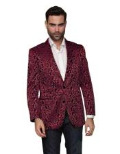 Nardoni Paisley Floral Tuxedo Matching Fashion Bow Tie Sport Coat Burgundy ~ Maroon