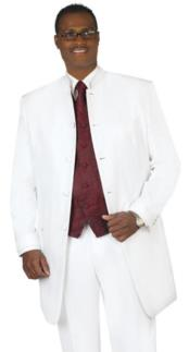 Breasted Collarless Groom Wedding White Blazer For Mens