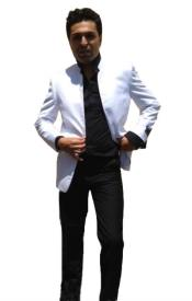 White Single Breasted Collarless Groom Wedding Blazer