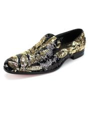 Black ~ Gold Slip On Shoe