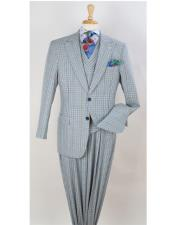Wide peak Lapel  Wide Leg pleated pants Double Breasted Vested Plaid ~ Window Pane Suit Pearl