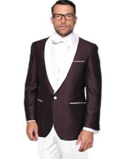 Burgundy Maroon ~ and White Lapel Tuxedo Vested 3 Piece Suit Wedding