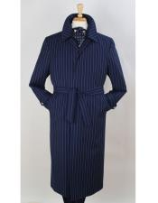Dress Coat Full Length Pinstripe Stripe All Weather Coat Overcoat ~