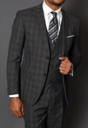 Charcoal Grey Gray Vested Three 3 Piece 100% Wool Windowpane Plaid Pattern