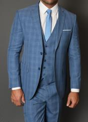 Statement Vested 3 Piece 100% Wool Suit - Windowpane Plaid Texture No Pleated Pants Blue