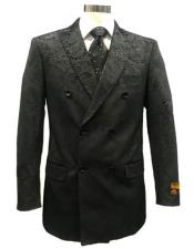 Double Breasted Velvet Fabric Paisley Pattern Black Blazer Sport Coat Jacket