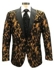 Mens Black ~ Tan Single Breasted Blazer