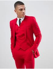Red 3 Pieces Notch Lapel Suit Vested Suit Slim Fitted Flat