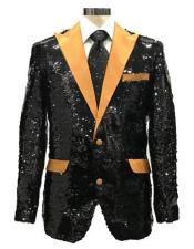 Black ~ Gold Shiny Pattern Satin Peak Lapel Reversible Sequin Blazer