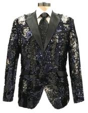 Reversible Sequin Black & Silver Blazer with Black Satin Peak Lapel