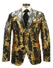 FAD345 Mens Reversible Sequin Silver & Gold Blazer with Peak Lapel