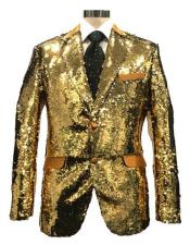 MDD483 Mens Reversible Sequin Silver & Gold Blazer with Peak Lapel
