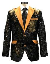 KDD342 Mens Reversible Sequin Black & Gold Blazer with gold Satin Peak Lapel