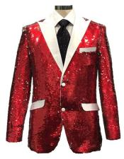Reversible Sequin Red & White Cheap Priced Blazer Jacket For Men with White Satin Peak Lapel