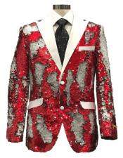Reversible Sequin Red & White Cheap Priced Blazer Jacket For Men