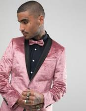 Single Breasted Shawl Lapel One Button Pink Tuxedo