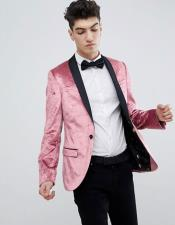 Mens Single Breasted One Button Super Skinny Pink Blazer