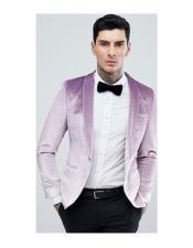 Mens Single Breasted One Button Purple Tuxedo