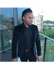 Mens One Button Single Breasted Black Blazer