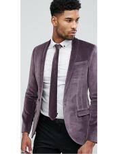 Mens Single Breasted One Button Shawl Lapel Purple Blazer