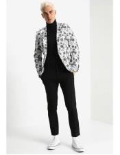 Mens One Button Single Breasted Floral Pattern White Blazer