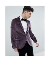Mens One Button Single Breasted Purple Tuxedo