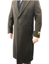 Brown & Black Mixed Tweed ~ Herringbone Houndstooth Cashmere Blend Overcoat