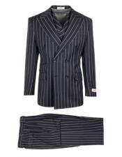 Authentic 100% Wool Super 150s Tiglio Brand Dark Navy Striped Pattern Double Breasted Two Button Suit