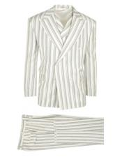 Authentic 100% Wool Super 150s Tiglio Brand Off White Striped Pattern Two Button Double Breasted Suit