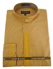 Mens Collarless Embroide Gold