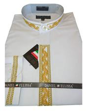 Mens Collarless Embroide White