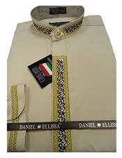 Mens Beige Embroide Collarless