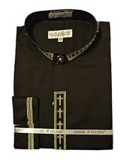 Ellissa Mens Collarless Black ~ Gold Embroide Mens Dress Shirt