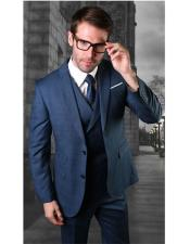 Two Button Single Breasted Blue Notch Lapel Suit