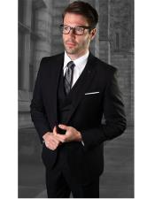 Mens One Button Black Suit