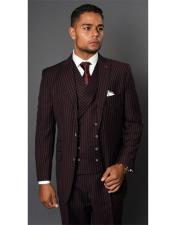 Maroon Single Breasted Striped Pattern Two Button Suit