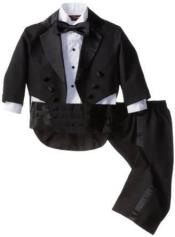 Double Breasted Peak Lapel Black Tuxedo