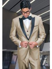 ~ Beige ~ Sand Color Peak Lapel Tuxedo Vested 3 Piece Suit By Alberto Nardoni Tux Formalwear