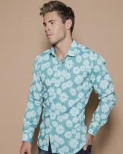 Mens Blossom - Floral Print Shirt Teal