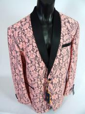 Mens Blazer Sport Coat Single Breasted Shawl Lapel Jacket Pink Black