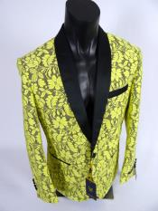 Mens Blazer Sport Coat  Shawl Lapel Jacket Yellow Black
