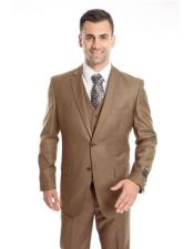 Mens Two Button Regular Fit Dark Taupe  Suit