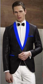 Mens Black Suit  Blue Shawl