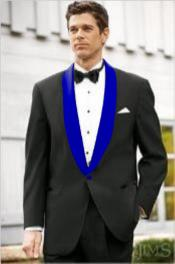 Mens Blue Shawl Lapel Black Suit