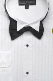 SKU#EF123 Men's Wing Tip Tuxedo Shirt with Bow Tie