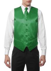 Mens Green 4PC Big and Tall Dress Tuxedo Wedding Vest