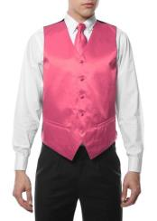 4PC Big and Tall Dress Tuxedo Wedding Vest & Tie & Bow Tie and Hankie Dark Pink