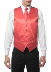 Mens Coral V Neck 4PC Wedding Vest ~ Waistcoat