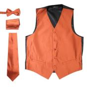 Solid Rust Five Button 4PC Big and Tall Waist coat